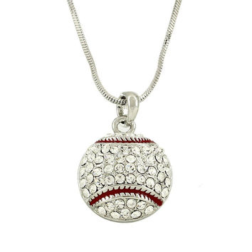 [N/L]*-Rhinestone Baseball Pendant Necklace