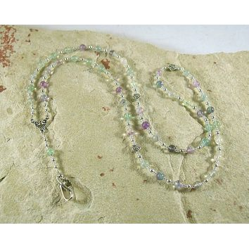 Eileithyia Prayer Bead Necklace in Rainbow Fluorite: Greek Goddess of Childbirth and Pregnancy