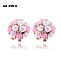 Jewelry Bohemian Pink Clay&Rhinestone Flower Ear Stud Earrings For Women Summer Style Gold Filled Crystal Earrings