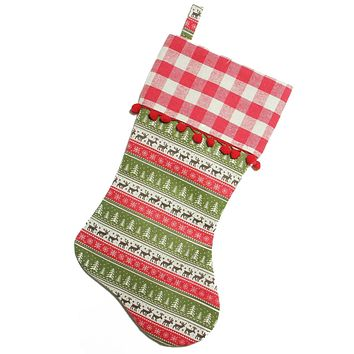 "19"" Red and Green Rustic Lodge Christmas Stocking with Red Pom-Poms and Plaid Cuff"