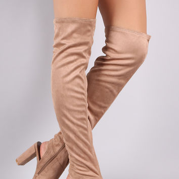 Qupid Stretchy Cutout Chunky Heeled Over-The-Knee Boots