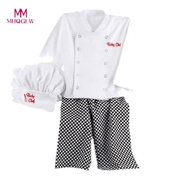 Hot Sale Boys Clothes Chef Cosplay Outfits Baby Baby Chef Cotton Long Sleeve T-Shirt Tops+ Plaid Pants Cap New Kids Clothes Set