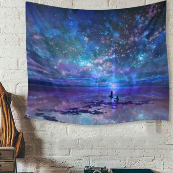150X130cm Polyester Colorful Starry Sky Tapestry Indian Mandala Throw Blanket Bedspread Yoga Mat Home Room Wall Decoration