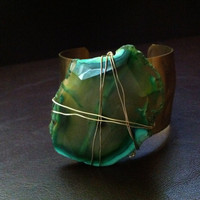 Gold Hammered cuff bracelet Electric neon green Agate