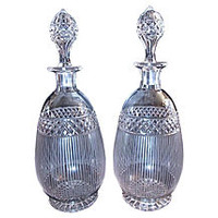 Georgian Crystal Decanters, Pair