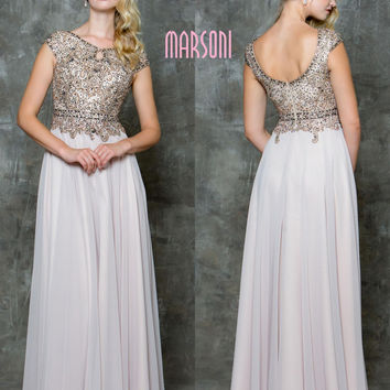 MARSONI M173 Jeweled Bust Chiffon Mother of Bride Evening Dress