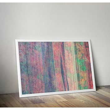Reiki Charged Grunge Stripes Teal Blue  Poster Bohemian Art Print Poster Design no frame 20x30 Large