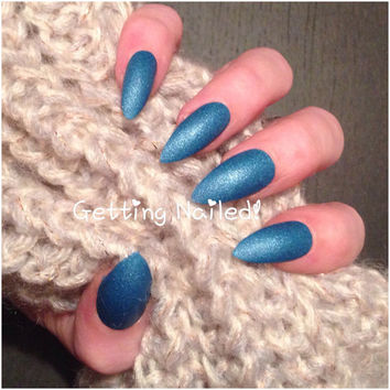 Hand painted blue denim press on false nails **stick on nail* false nails * fake nails * handpainted nails * press on nails