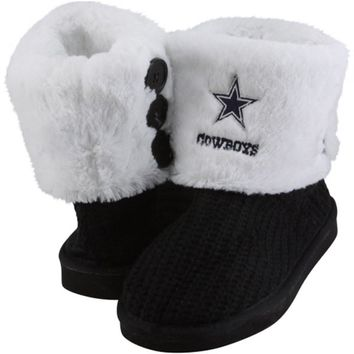 Dallas Cowboys Ladies Knit High End Button Boot Slippers - Navy Blue