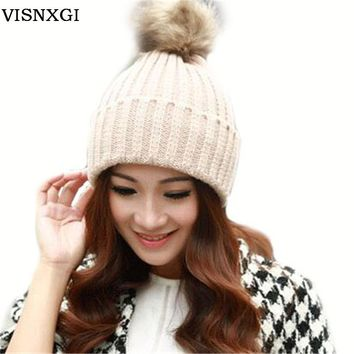 VISNXGI Real Dyeing Raccoon Fur Pompom Woman Winter Cap With Fur Pom Pom Knitted Bobble Beanie Hats Women Caps With Pompon Ball