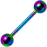 14 Gauge Rainbow Anodized Titanium Barbell Tongue Ring | Body Candy Body Jewelry