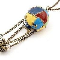 JA178 Around the World Hot Air Balloon Necklace, Bronze Tapestry Balloon Jewelry