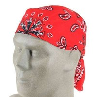 Zan Headwear: Red Paisley Cotton Bandanna B003