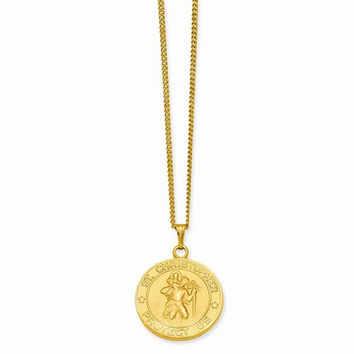 Gold-Plated St Christopher Medal Necklace