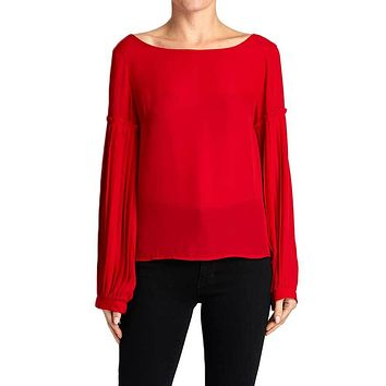 Glam Pleated Balloon Sleeve Top