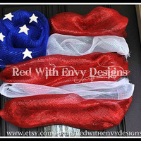 Fourth of July Flag Wreath, US Flag Wreath,  OOAK, Patriotic Wreath, Red White & Blue, Wreath, Deco Mesh Wreath, Wreath, Flag Wreath