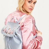 Missguided - Blue Satin Embroidered Backpack