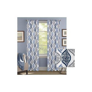 "Bh&G Damask Ogee Curtain Panel 52"" X 63"" Blue"