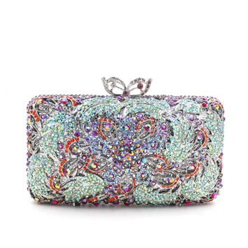 Women Sale Rhinestone Minaudiere Metal Box Clutches For Bridal Prom
