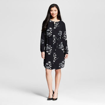 Merona Women's Floral Printed Crepe Shirt Dress, Black/White Floral, Small