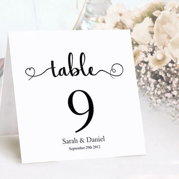 Table Numbers Printable Wedding Table Card Template DIY Editable Table Cards Elegant Table Cards Script Font Cards Tented Black Card Signs