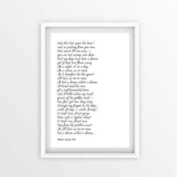 A Dream Within A Dream, EDGAR ALLAN POE, Inspirational Poetry Print