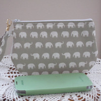 Clutch Wristlet Zipper Gadget Pouch Tiny White Elephants on Parade in Gray