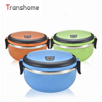 1Pcs Double Locks Round Shape Stainless Steel Thermal Bento Meal Box With Handle Food-Grade bowl