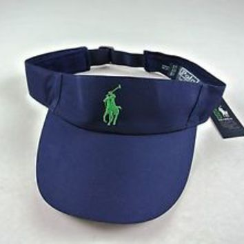 Polo Ralph Lauren VISOR w/Sweatband US Open 2012 Tennis Navy OSFA