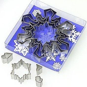 SNOWFLAKE SET w/ insert cutters 8 pieces Cookie Cutter make an ornament