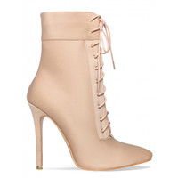Amara Nude Lycra Lace Up Pointed Ankle Boots : Simmi Shoes