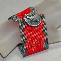 Wavering Time ... Peyote Bracelet . Steampunk . Watch Parts Button . Carbon Steel . Bright Red . Silver . Beadwoven Cuff . Bold