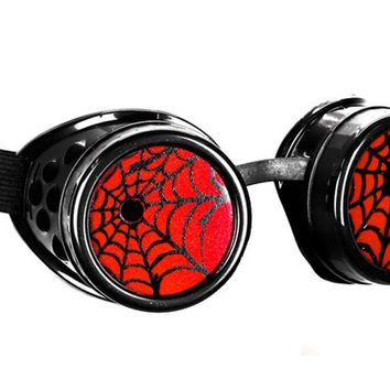 Black Goggles with Red Spiderwebs Cobwebs Goth Cyber Cosplay