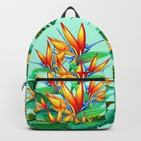 Bird of Paradise Flower Exotic Nature Backpack by bluedarkatlem