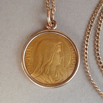 Antique Religious VIRGIN MARY JESUS Medal Necklace Pendant Rose Gold Filled Chain Signed