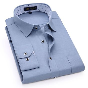 Men's Long Sleeve Solid Linen Dress Shirt Patch Chest Pocket Square Collar Inner Polka Dot Regular-fit Casual Office Work Shirts
