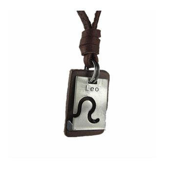 Leo pendant leather necklace
