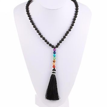 7 Chakra Lava Rock Natural Stone Beads Necklace with Tassel Pendants