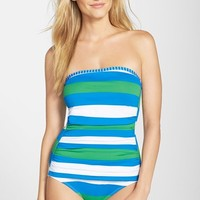 Women's Tommy Bahama Rugby Stripe Bandeau One-Piece Swimsuit,