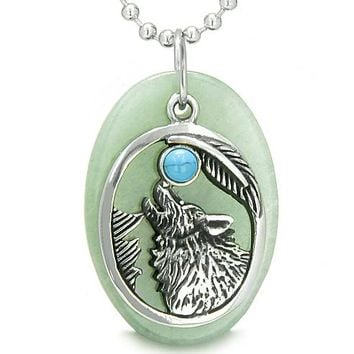 Amulet Courage Howling Wolf MoLucky Charm in Green Aventurine Turquoise Pendant Necklace