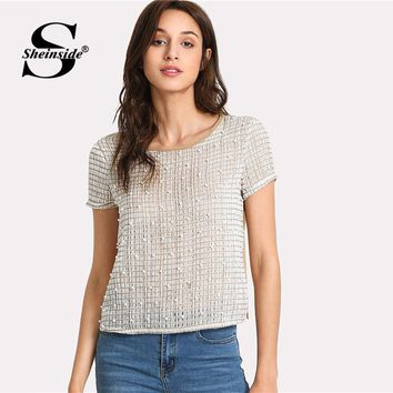 Sheinside Pearl Beaded Mesh Blouse Women Round Neck Short Sleeve Casual Top 2018 Summer Office Ladies Work Blouse