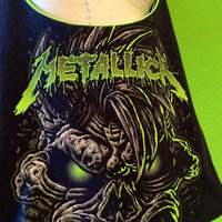 Metallica Bag Black and Green Upcycled T-shirt Purse