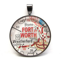 Road Map Pendant of Fort Worth Texas from by CarpeDiemHandmade