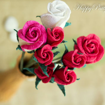 Crochet Rose Pattern and Instructions - Closed Rose - Crochet Flower Pattern - Crochet Bouquet - Crochet Pattern - Valentine's Day Gift