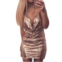 2017 Sexy sleeveless Deep-V halter split sequin dress backless metal Christmas party dress  Mini  Dresses Women Clothing
