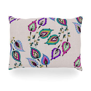 "Louise ""Leave"" Pink Oblong Pillow"