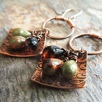 Etched Copper Earrings, Boho Jewelry, Etched Metal Jewelry, Dangle Earrings, Wire Wrapped Rings, Hippie Jewelry