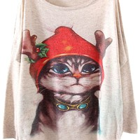 Christmas Cat Print Sweater