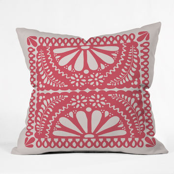 Natalie Baca Fiesta De Flores In Red Throw Pillow