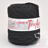 Fade to Black t-shirt yarn 42 yards upcycle recycle craft crochet knitting supply zpagetti yarn